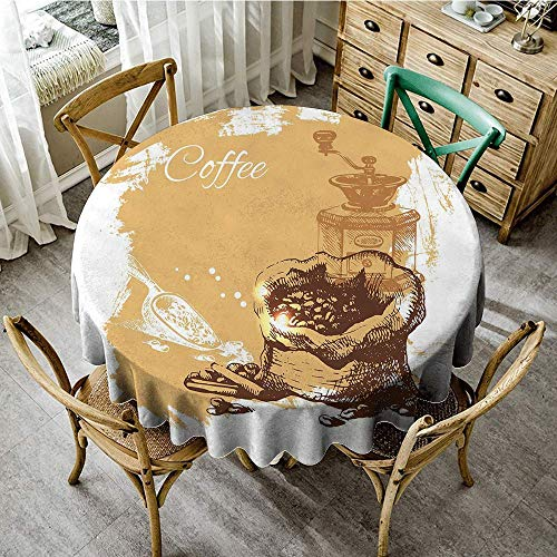 DONEECKL Antifouling Tablecloth Coffee Vintage Sketch Art an Antique Mill and Bag of Beans with Cinnamon Sticks Great for Buffet Table D55 Brown Pale Brown White