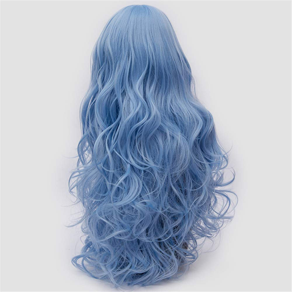 LONGLOVE European and American Wigs European and American Fashion Big Wave Long Curly Hair (Sky Blue) by LONG LOVE (Image #5)