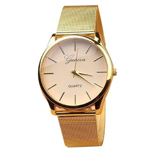Full correa de malla oro reloj mujer Fashion - Vestido con los relojes de pulsera de acero inoxidable: Amazon.es: Relojes