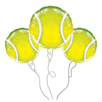 Party Explosions Tennis Ball Mylar Balloon -3pk: Toys & Games
