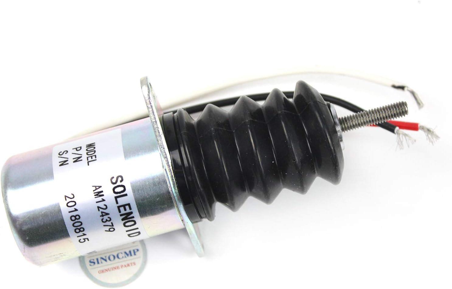 AM124379 Solenoide de apagado de combustible – Válvula de solenoide de cierre SINOCMP para John Deere 415 455 F915 F925 F935 piezas de excavadora de cortacésped delantero.