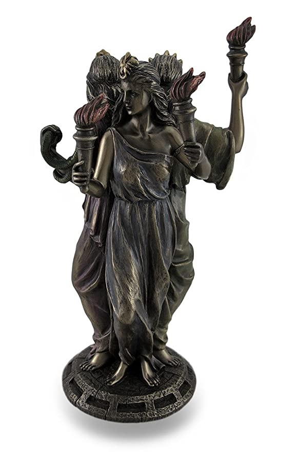 ecate statuetta  : Bronze Finish Triple Form Hecate Greek Goddess of Magic ...