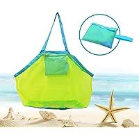 Bornfeel Bolsa de Juguetes Playa Bolsa de Malla para Niños Guardar los Juguetes Bolas Conchas Verde 45 x 30 x 45cm (18 x…