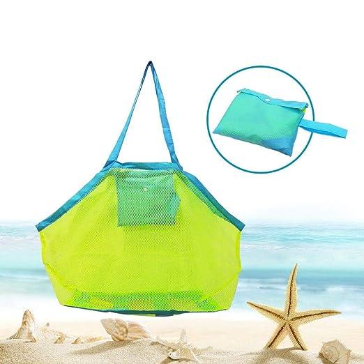 Bornfeel Bolsa de Juguetes Playa Bolsa de Malla para Niños Guardar los Juguetes Bolas Conchas Verde 45 x 30 x 45cm (18 x 12 x 18in)Malla Verde & ...
