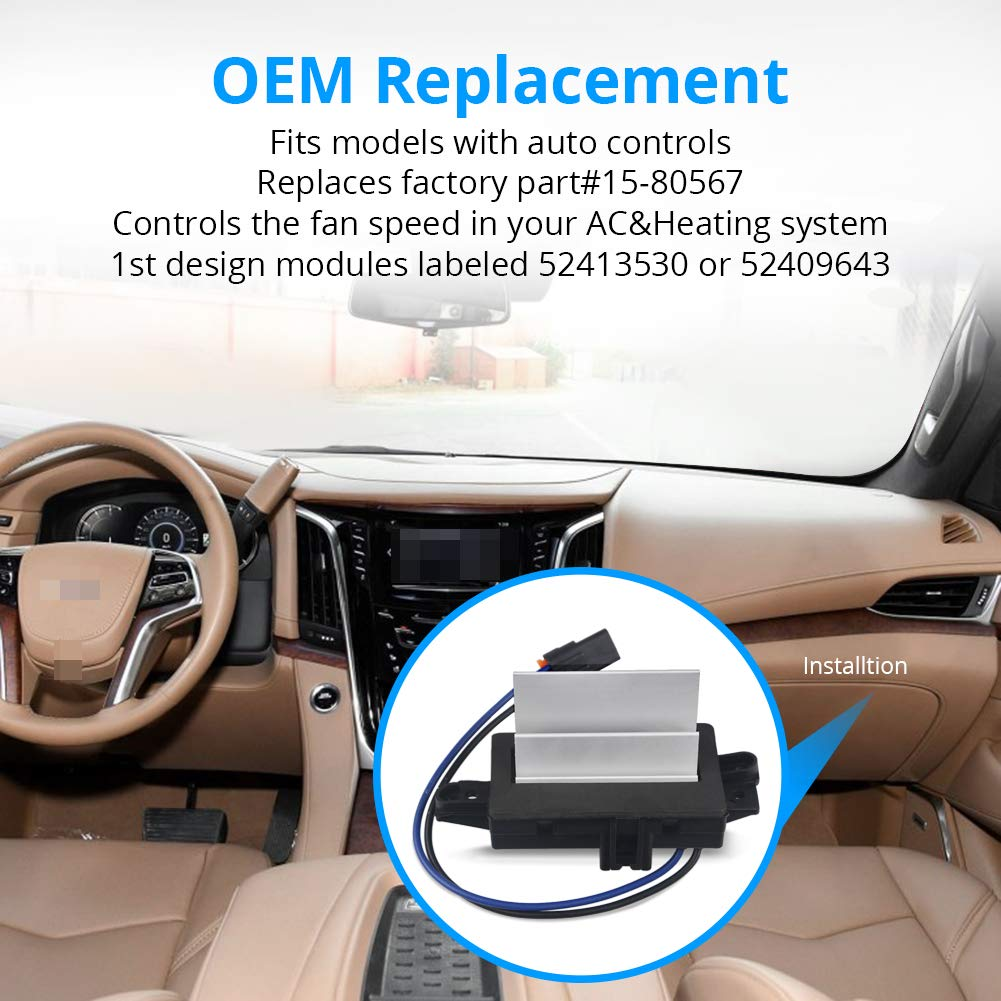 WMPHE HVAC Blower Motor Resistor Fits for Ford Expedition,Ford F-150,Lincoln Navigator,Mercury Mariner Replaces OE# 973-506 9L3Z-19E624-B YH-1829 AC Blower Control Modul With Gloves