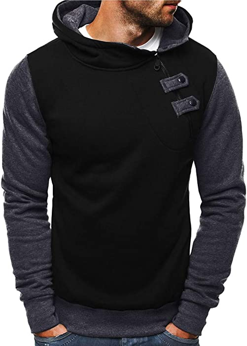 WM & MW Mens Casual Winter Warm Patchwork Zipper Button Turtleneck Hooded Sweatshirt Pullover Hoodie Outwear Tops (Black, M) at Amazon Mens Clothing store ...