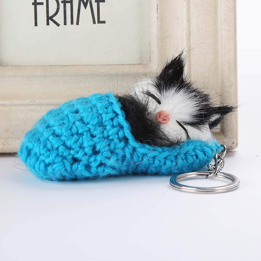 Amazon.com: Haluoo 23.5 pulgadas lindo sueño gatito llavero ...