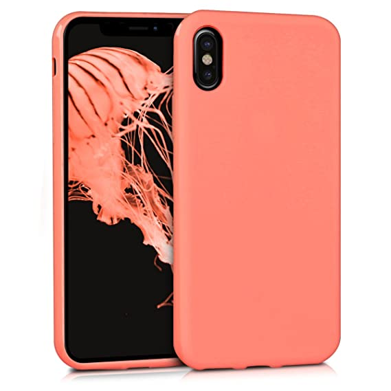 reputable site f7866 b8f06 kwmobile TPU Silicone Case Compatible with Apple iPhone X - Soft Flexible  Protective Phone Cover - Coral Matte