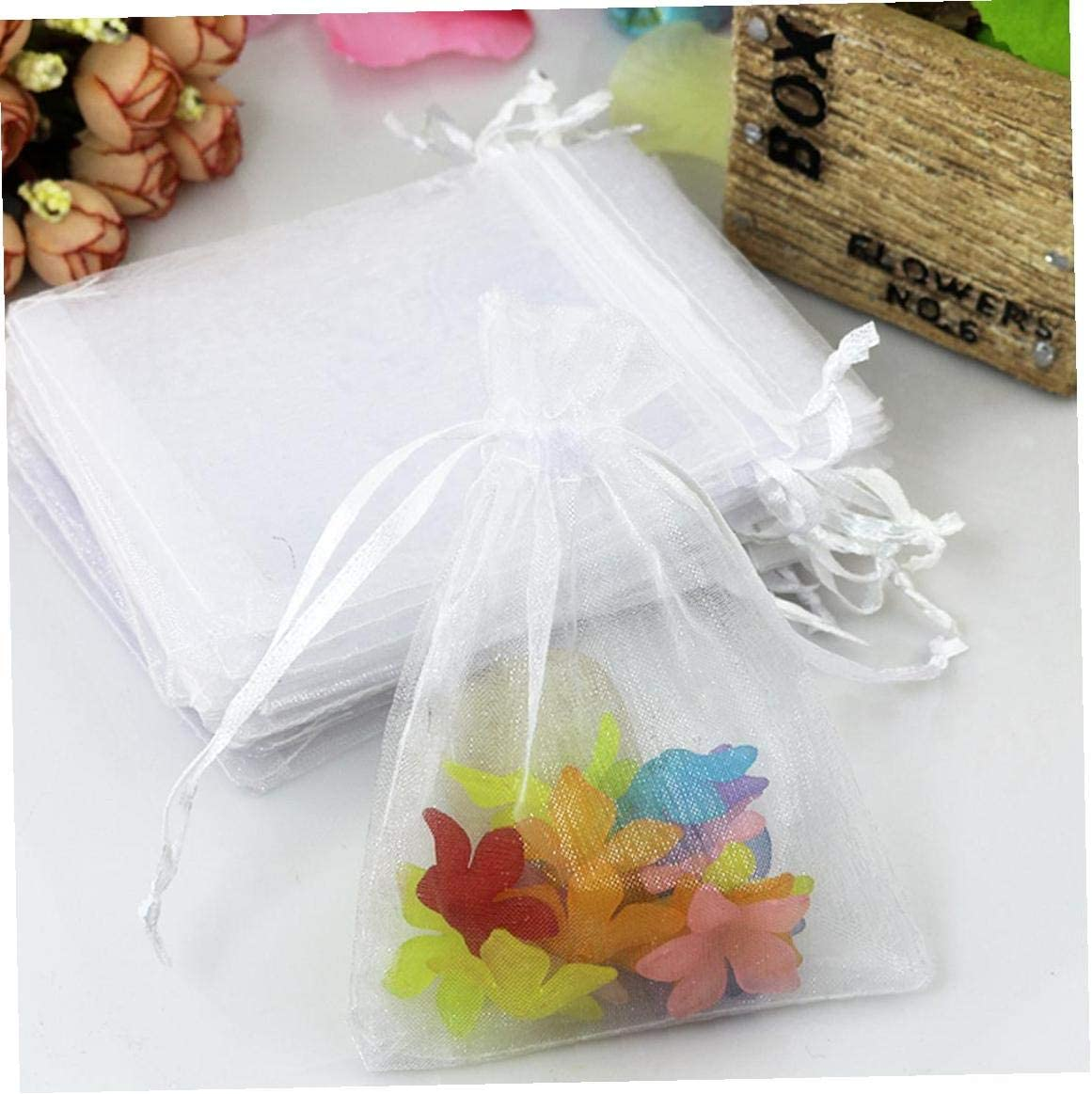 White 120Pcs Organza Bags Drawstring Candy Jewelry Party Wedding Favor Gift Bags Organza Present Bags with Drawstring