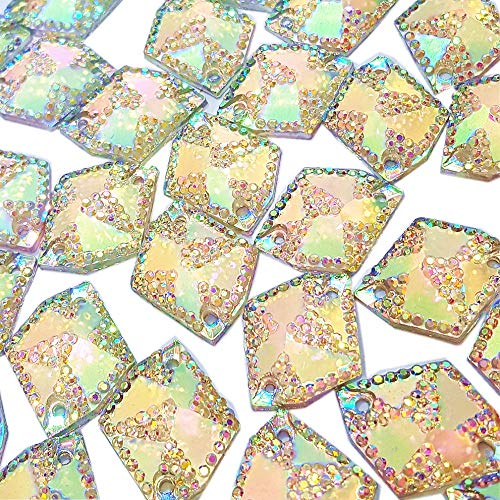 60pcs Cosmic Shape Sew On Rhinestones for Clothes Garment Shoes Accessories,Flatback All- Star Gems Sewing Resin Stone Beads 2 Holes (AB, 17x21mm) Cosmic Flat Back Rhinestones