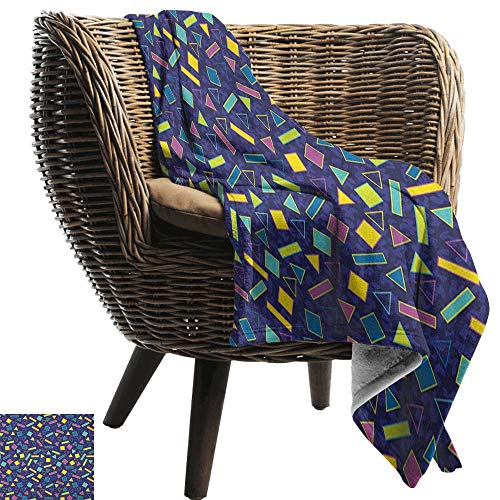Sunnyhome Funky,Custom Design Cozy Flannel Blanket,Retro 80`s Memphis Fashion Style Vibrant Triangles Squares Rectangles Hipster Pop 60