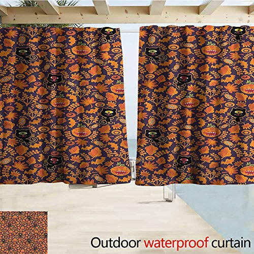 Indoor/Outdoor Print Window Curtain Vintage Halloween Scary Mosters Simple Stylish Waterproof W55x45L Inches]()
