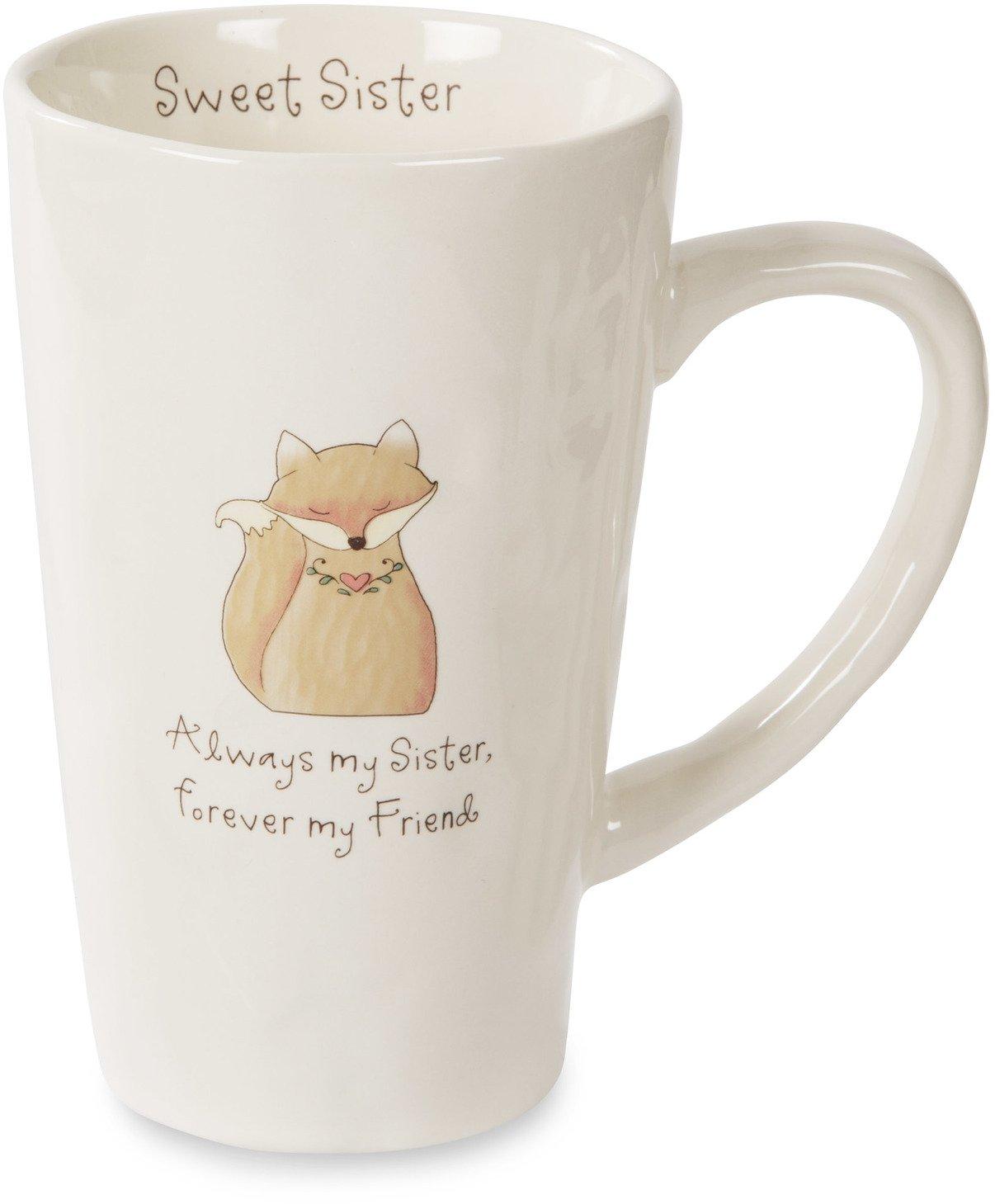 Pavilion Gift Company Heavenly Woods Fox Sweet Sister Ceramic Mug, 18 oz, Off-White