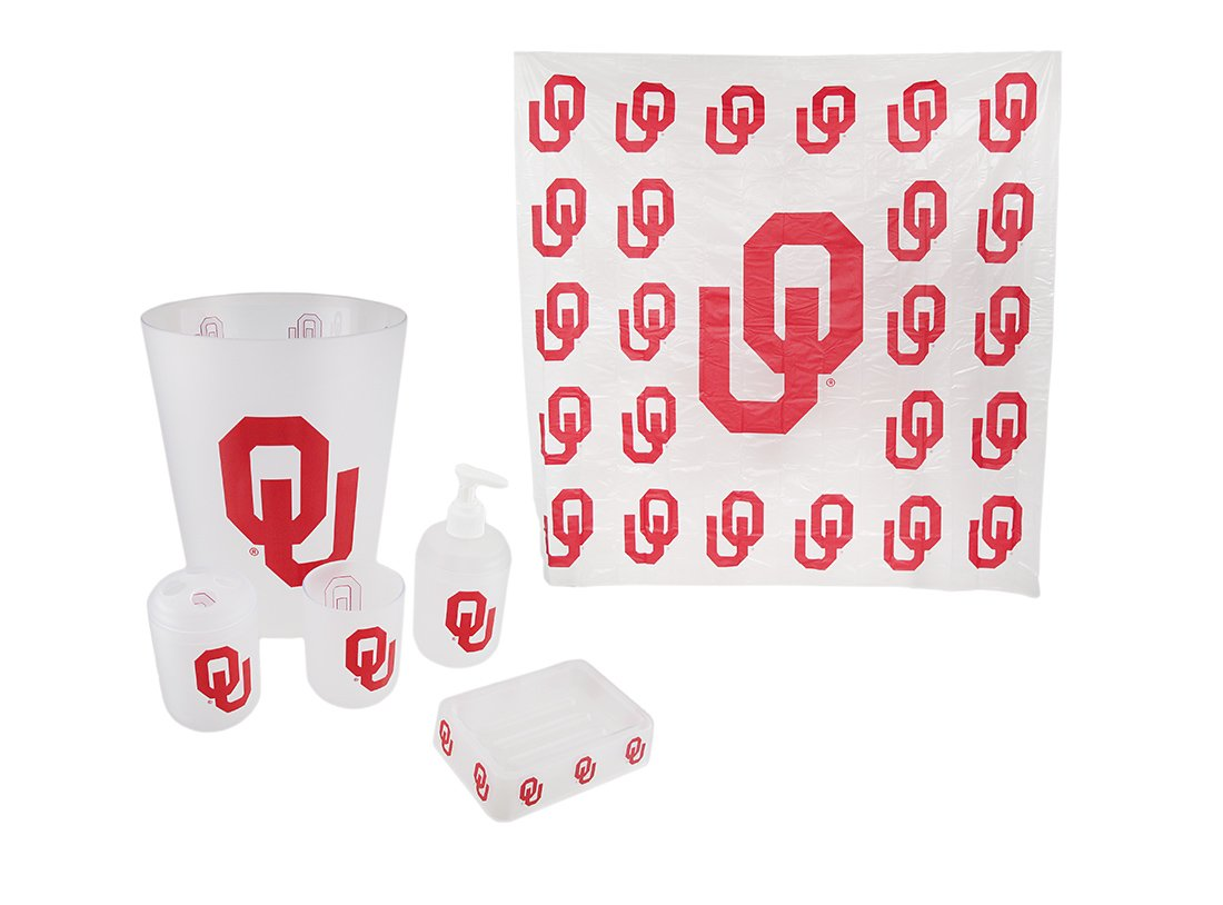 Zeckos Vinyl Bathroom Accessory Sets Oklahoma Sooners Frosted Finish 7 Piece Bath Set 71 X 71 X 0.75 Inches Red