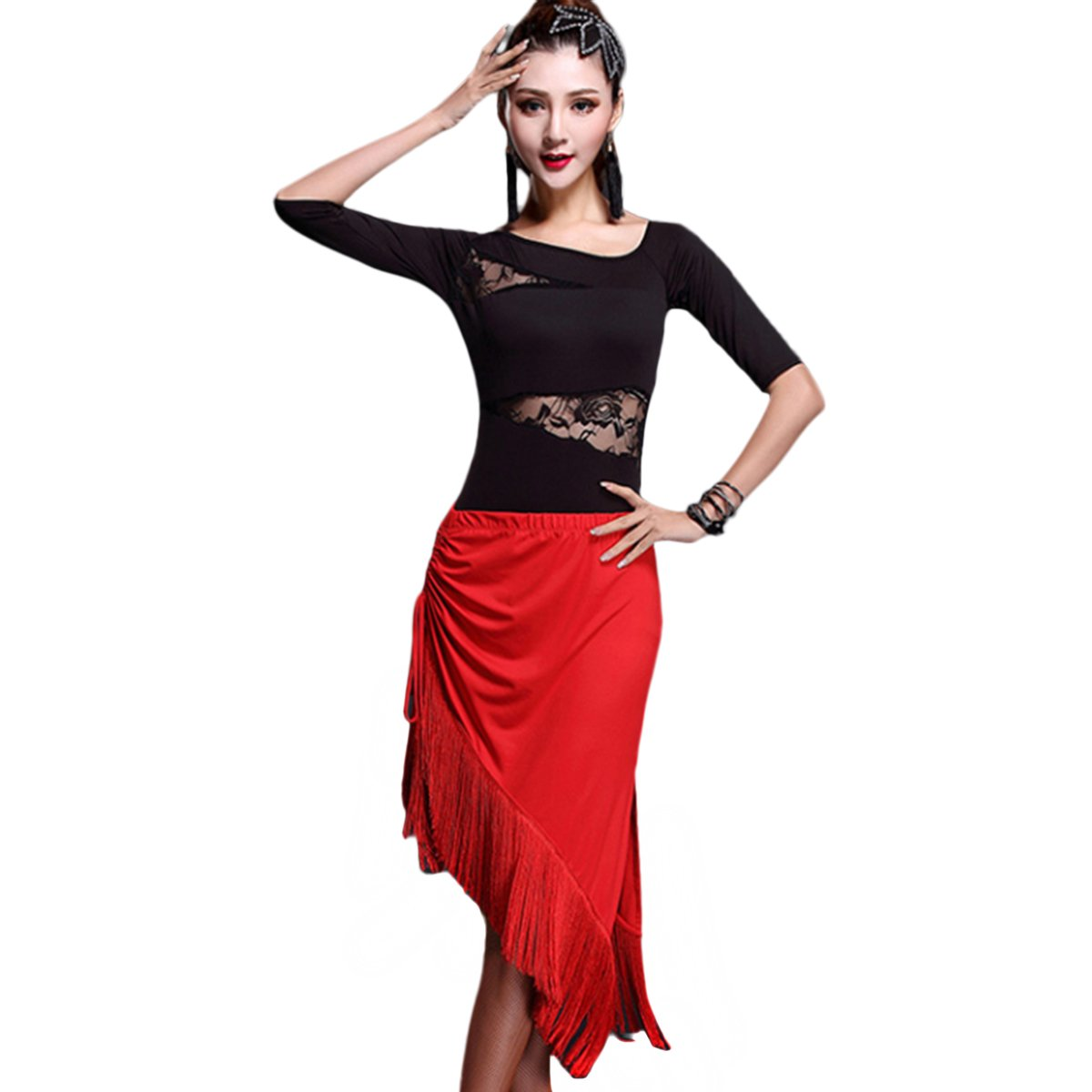 54844776b Galleon - Womens Latin Dance Dress Tassels Style Latin Dance Costume Adult  Dancing Practice Performance Skirt XL - Red