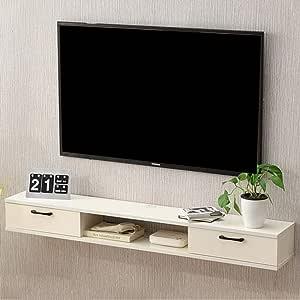 Televisor Montado en la Pared Gabinete Estante de TV Flotante Fondo de TV Decoración de la Pared Estante Dispositivo de Almacenamiento Multimedia Estante de TV Soporte de TV Consola de TV (Color: