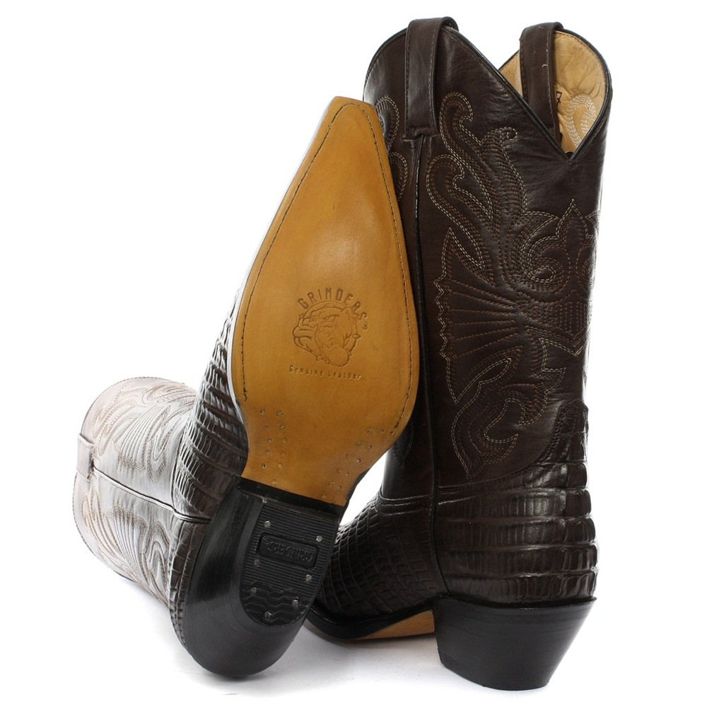 3c3f91454f0803 Grinders MENS CAROLINA CROCODILE LEATHER COWBOY WESTERN MID- CALF BOOTS IN  BLACK AND BROWN  Amazon.co.uk  Shoes   Bags