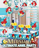 Ultimate Little Mermaid Party!!!Birthday Party Decoration Supplies Bundle Pack with 16lg&16sm Plates 16-9oz Cups, Matching Table Cover&Hanging Swirl Pack,50 Napkins(Bonus Matching Party Straw Pack)