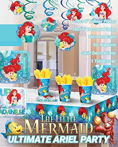 aid Party!!!Birthday Party Decoration Supplies Bundle Pack with 16lg&16sm Plates 16-9oz Cups, Matching Table Cover&Hanging Swirl Pack,50 Napkins(Bonus Matching Party Straw Pack) (Little Mermaid 9 Oz Cups)