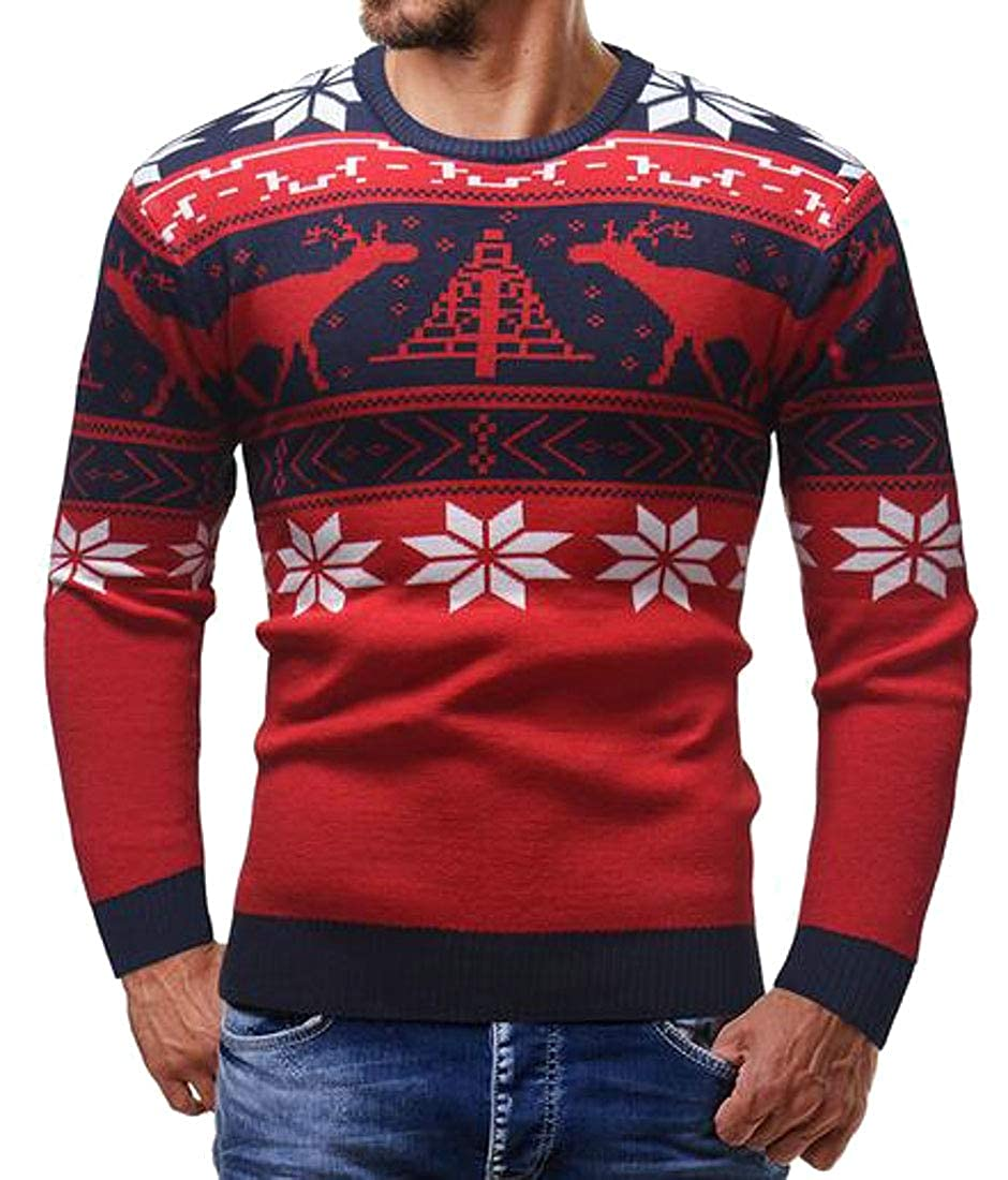 pipigo Men Long Sleeve Jumper Christmas Elk Print Knit Slim Pullover Sweaters