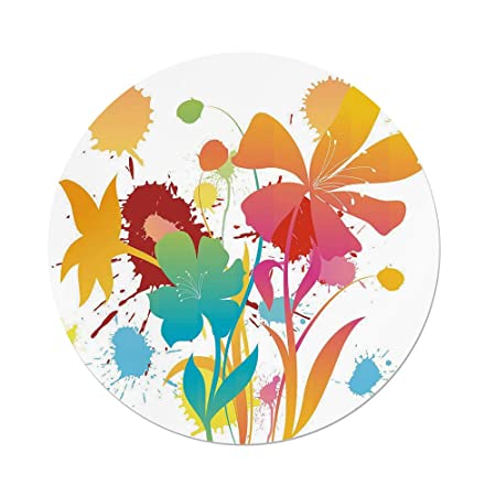 iprint polyester round tablecloth colorful hawaiian beach party