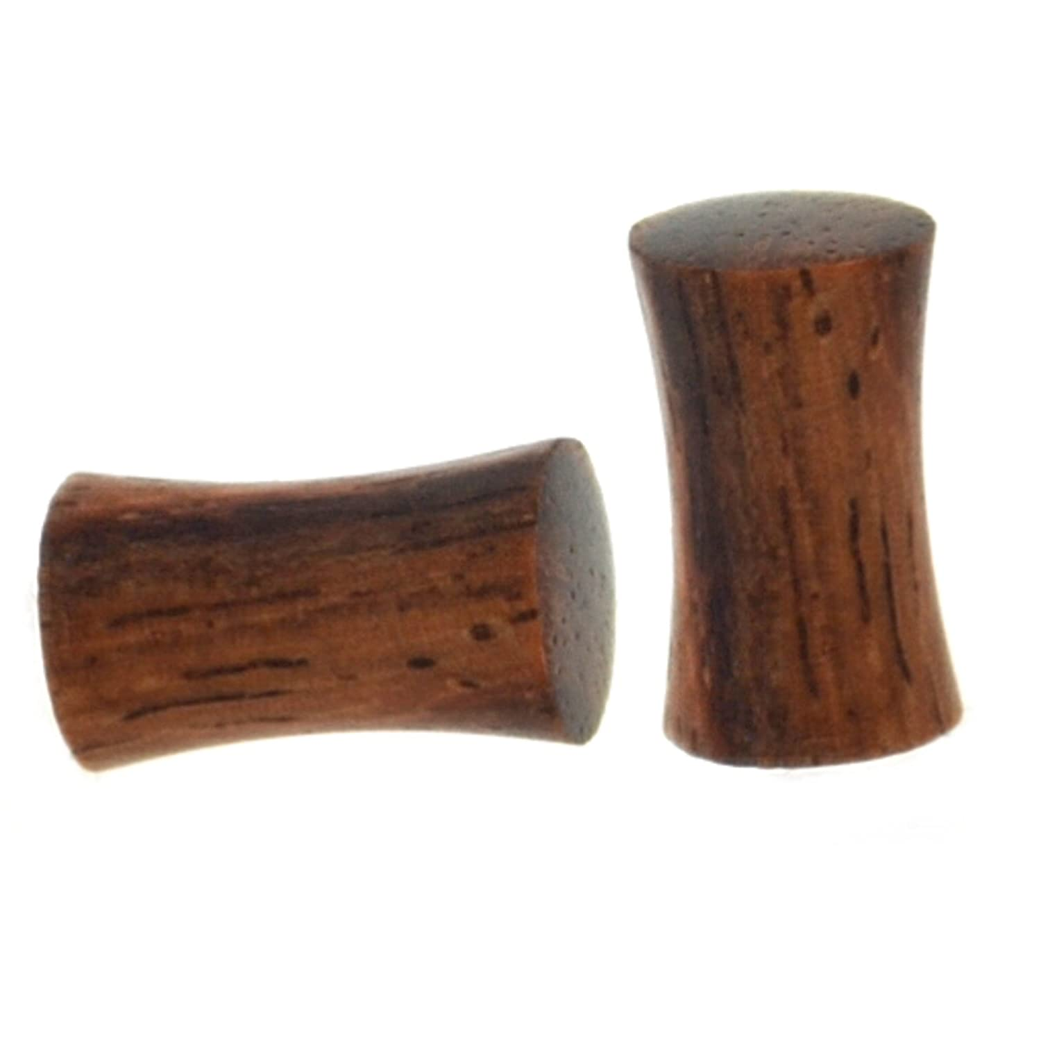 Pair (2) Solid Sono Wood Ear Plugs Organic Wooden Saddle Gauges - 4G 5MM