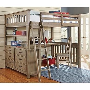 ne kids highlands full loft bed with desk in driftwood