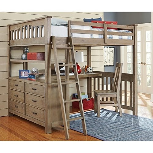 Bunk Full Loft Study Style (NE Kids Highlands Full Loft Bed with Desk in Driftwood)