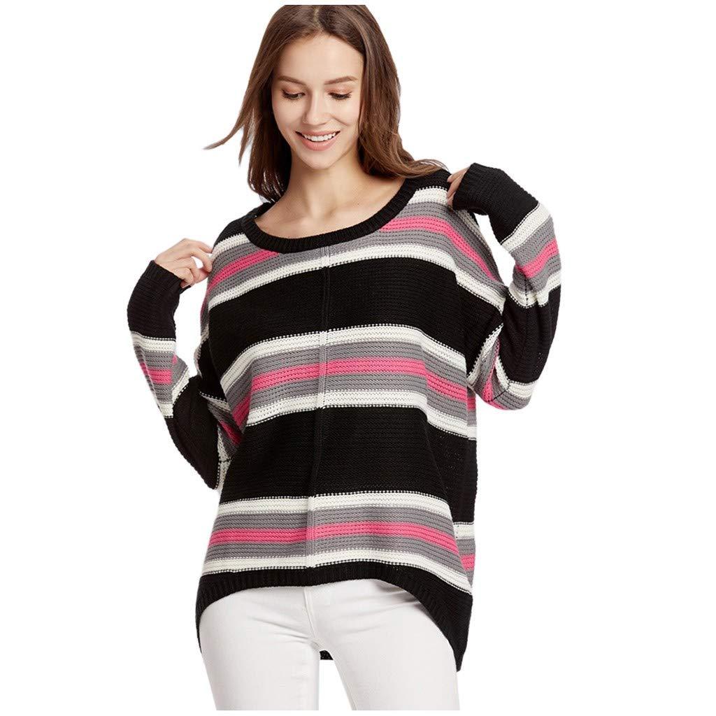 Blouses for Women Plus Size, Yezijin Fashion Women Long Sleeve Striped Round Neck Blouse Top Casual Loose Sweatshirt by Yezijin Long Sleeve Tops