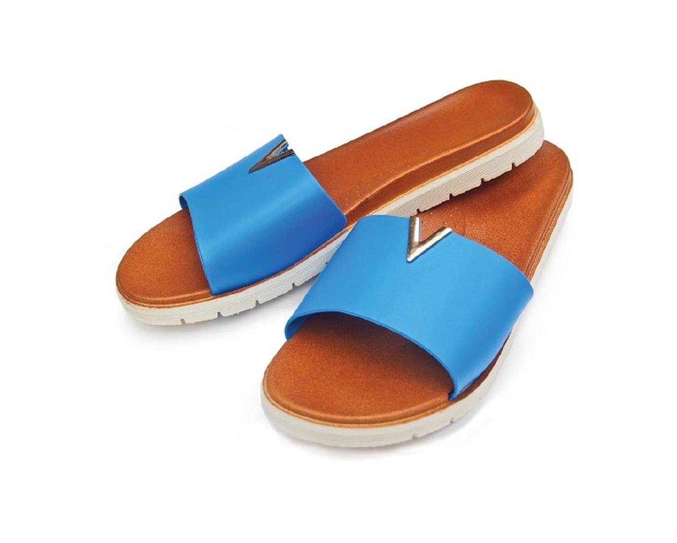 DINY Home & Style Ladies Women's Faux Leather Slide Sandals (Large 9/10, Blue)