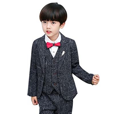 5PCS Little Boy Gentleman Suit Formal Wear Coat Shirt Vest Pants Outfit Set