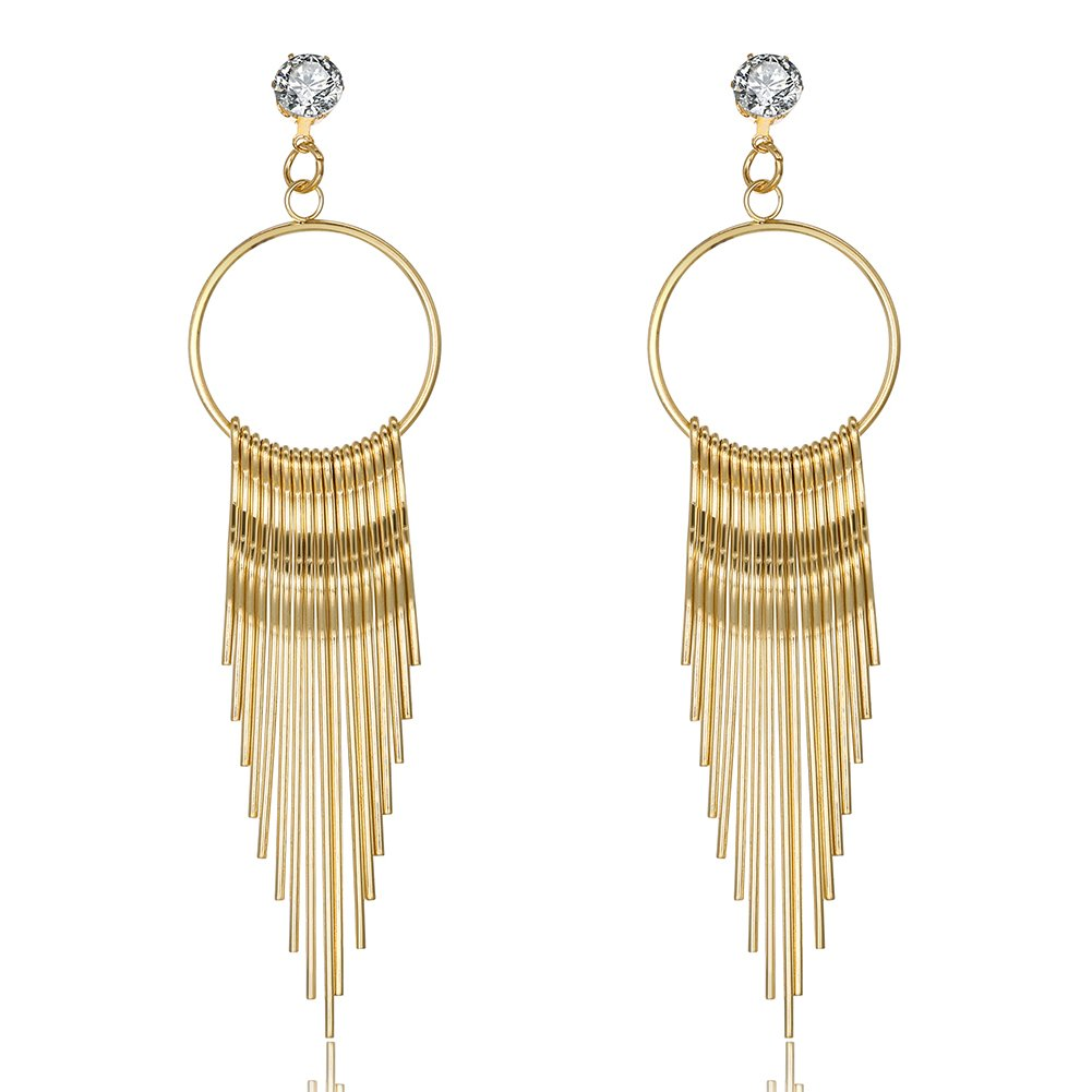 Elegant Long Tassel Dangle Stud Earring Metal Chain Women Fashion Party Christmas Gift