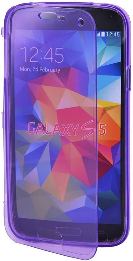 Vktech - Funda Estuche TPU Silicona Con Tapa Transparente Para Samsung Galaxy S5 I9600 (Violeta): Amazon.es: Electrónica
