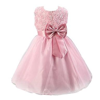 Amurleopard Girls Sleeveless Lace 3D Flower Princess Dresses Roses