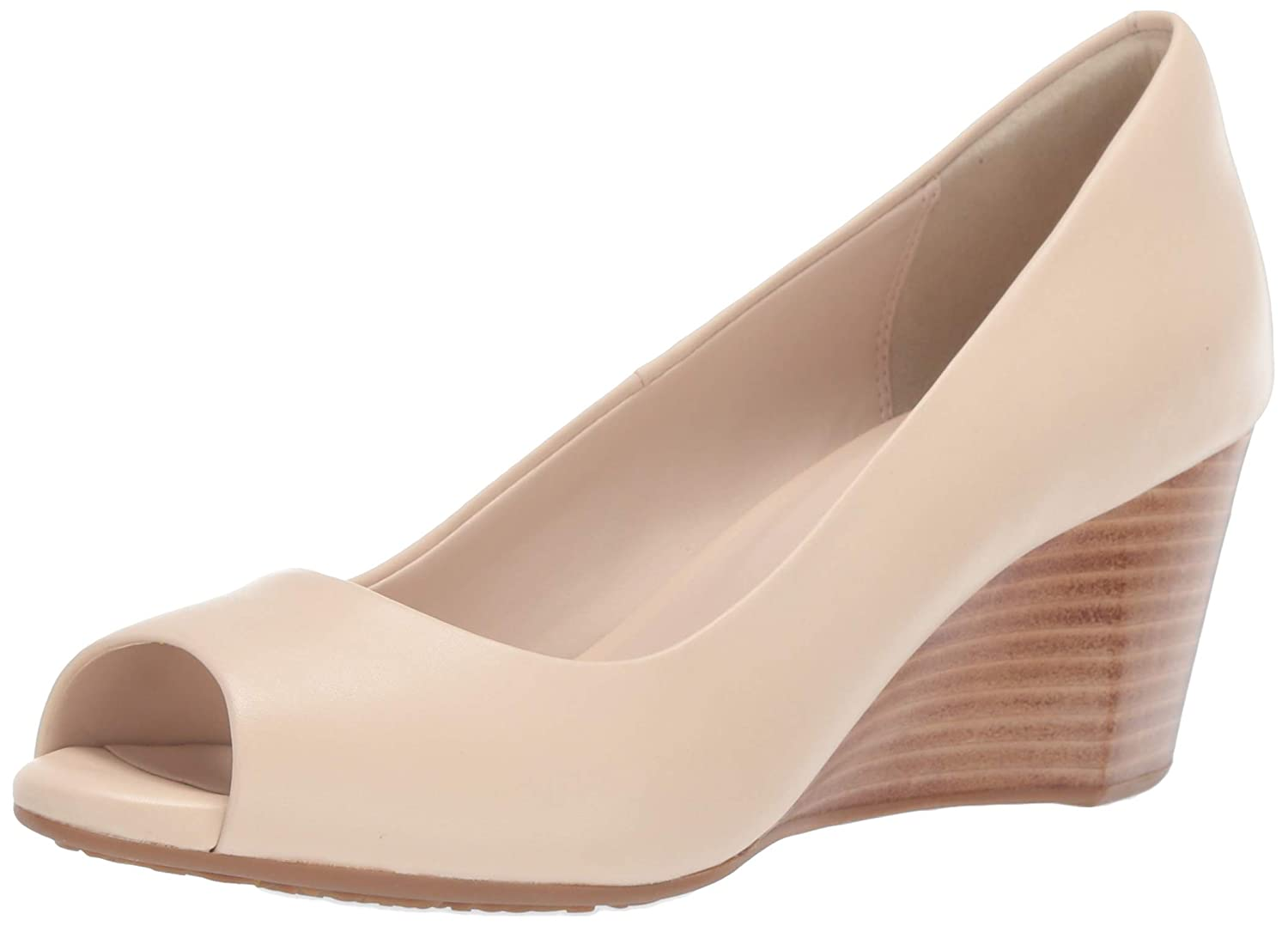 Brazilian Sand Leather Cole Haan Womens Sadie Open Toe Wedge 65mm Pump