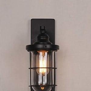 NIUYAO Lampe Applique Murale Abat-jour Métal avec Grills Rétro Industrielle 1 Light-Noir