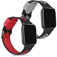 kwmobile armband kompatibelt med Xiaomi Huami Amazfit GTS – 2X silikon fitnesstracker sportarmband, Svart röd svart