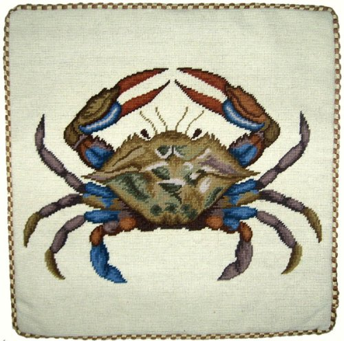 Deluxe Pillows Big Blue Crab - 21 x 21 in. needlepoint - Crab Needlepoint