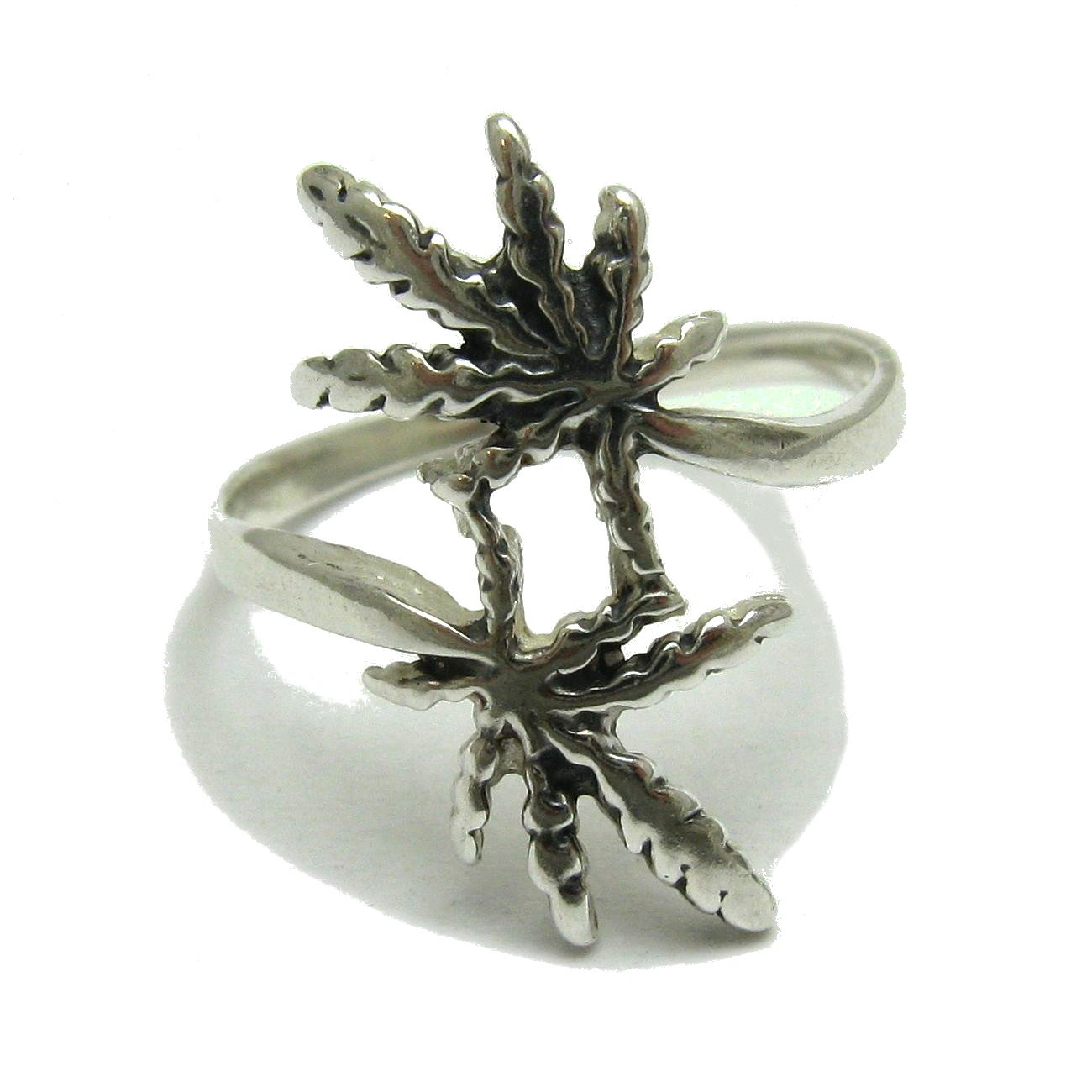 Anello in argento 925 marijuana cannabis ganja R000971 Empress