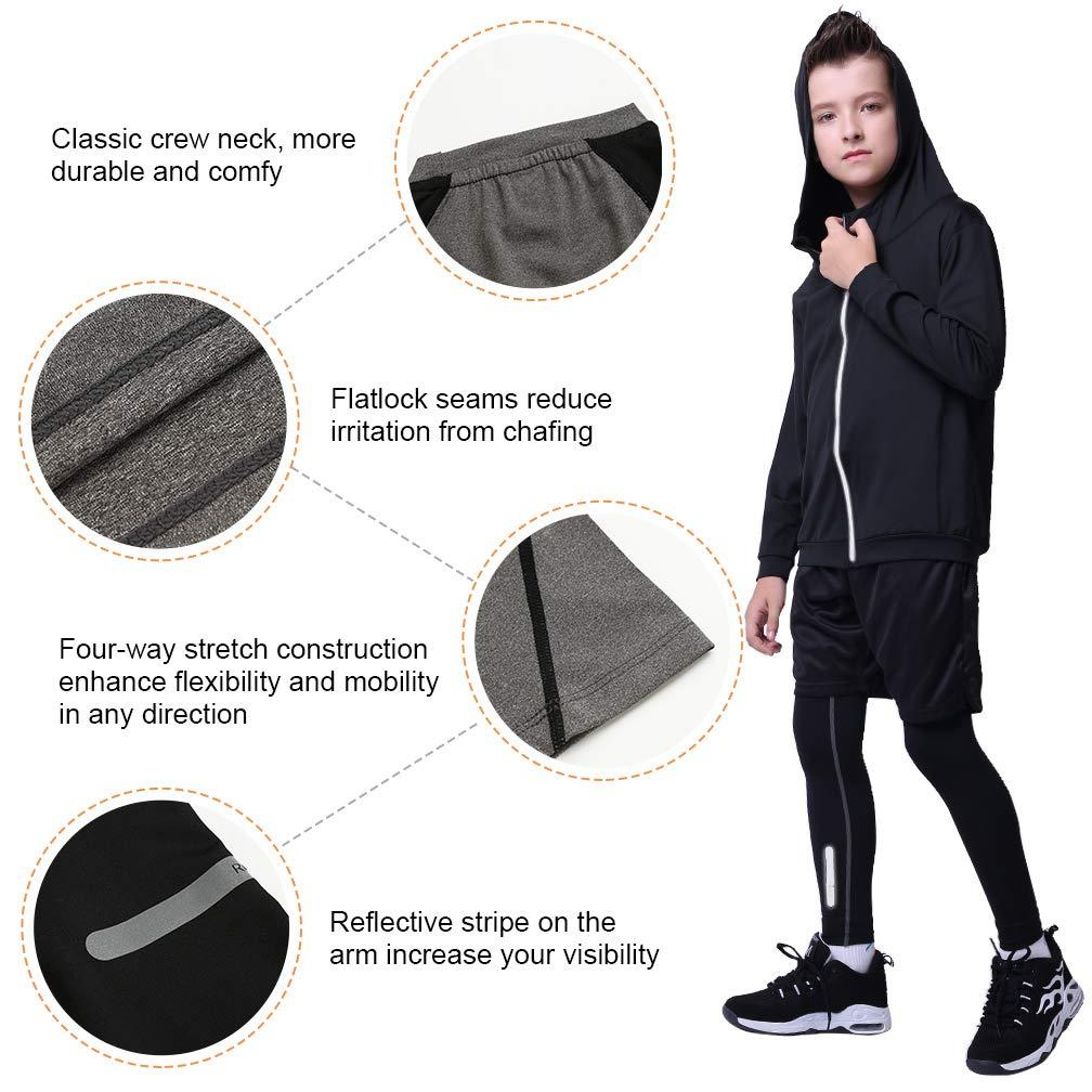 Tesuwel 2//3//4//5 Pcs Boys Girls Athletic Compression Pants and Shirts Base Layer Thermal Underwear Set Running Tights Leggings