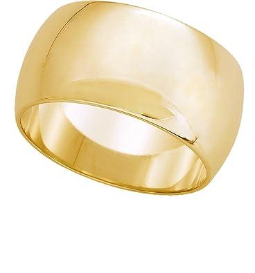 Womens 10K Yellow Gold Half Round Wedding Band 10MM Sz 4