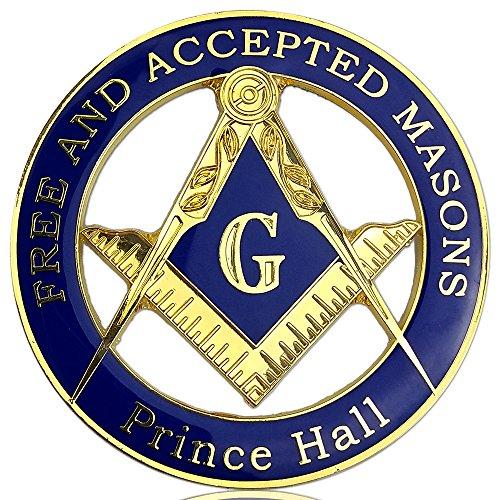 JYG Masonic Car Emblem Challenge Coin Prince Hall Compass Symbol Auto Decal