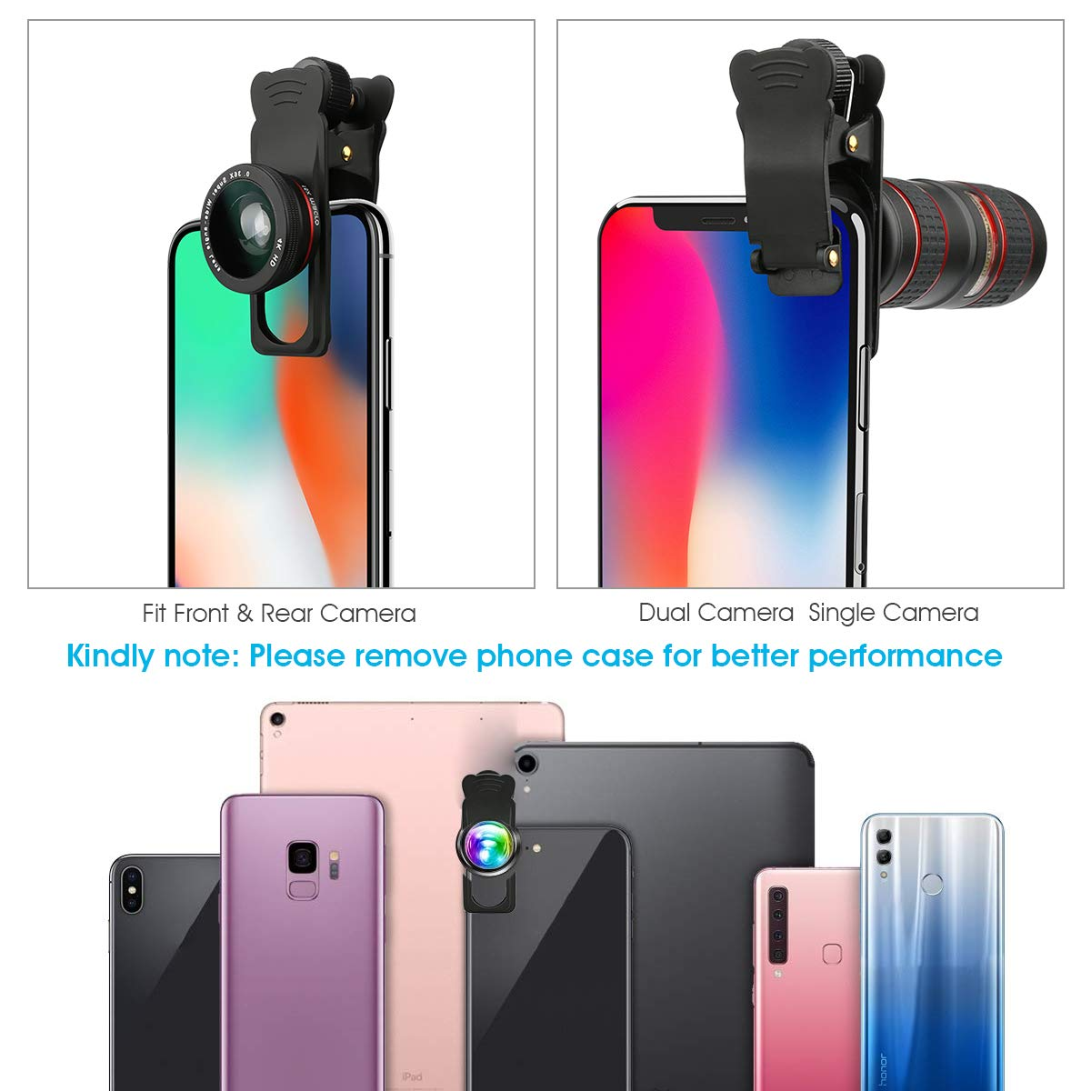 5 in 1 Phone Lens Kit -12X Zoom Telephoto Lens Samsung S10//S10+//S9//S8//S6 0.36X Wide Angle+ 180/° Fisheye Lens+ Dual 15X Macro Lens for iPhone X//XS//8//8P//7//6 AFAITH Upgraded Phone Camera Lens