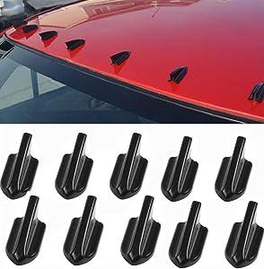 WYYINLI 10pcs Flexible Shark Fin Body Diffuser Vortex Generator Decoration Evo Style for Car Truck SUV Roof Spoiler Wing Bumper Accessories (Black)
