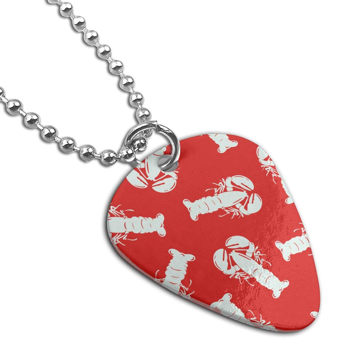 Lobster Red Guitar Pick Necklace Unique Custom Fashion Pet Card Keychain