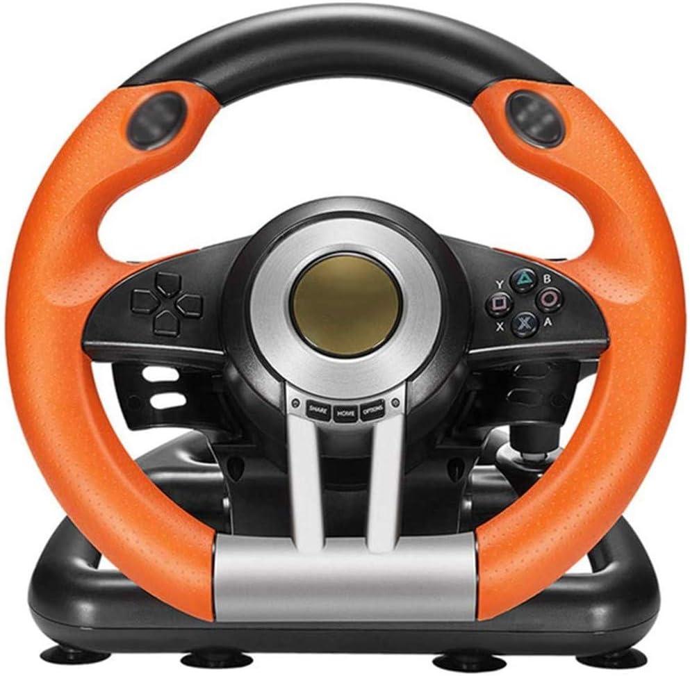 Racing De Dirección del Juego De Ruedas, Volante De Conducción Simulada por Ordenador con Doble Motor De La Vibración Y Pedales Sensibles Compatible PC / PS3 / 4 / Xbox One/Switch