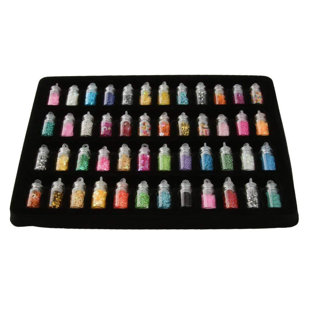 1 juego de 48 botellas de cristal pequeñas de color epoxi para decoración de uñas, joyería con purpurina Rocita