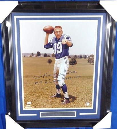67df5e074b8 Johnny Unitas Autographed Framed 16x20 Photo Colts quot NFL Champs  1958-1959 quot   Y66726
