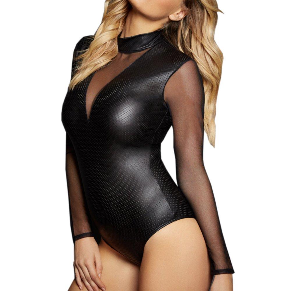 Diversión sexy Señoras Catsuit Catwoman Mono de Charol Clubwear Cremallera Body con Cremallera Clubwear Adulto Cosplay 443549
