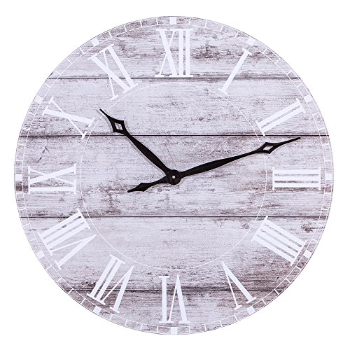 Patton Wall Decor 30 Inch 30 Frameless Rustic White Washed Wood Plank Wall Clock, Gray (Clock Plank Wood White)